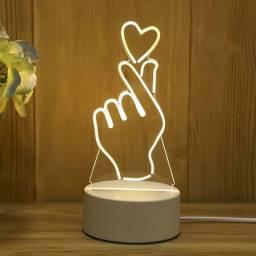 Luminária Decorativa Love Led 3D USB Abajur de Mesa para Decoração