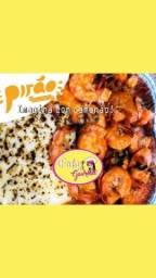 Faby_gourmet pirão de aipim no queijo massaricado e peixe Tilapia na barca