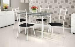Mesa de granito 4 cadeiras preta