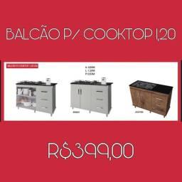 Balcão para cooktop com três gavetas