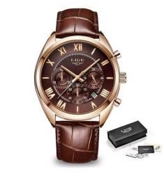Dia dos pais, relógio Lige Superior Luxo (fundo marrom).