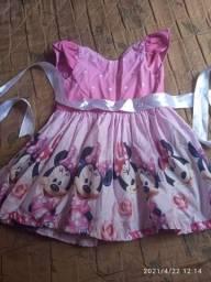 Vestido do Tema da Minnie baby rosa