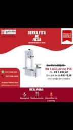 Serra Fita de mesa parcial Inox Lâm 1,80 c/ moedor b. 8 - 1/2 Cv -Bivolt - Delta Grill