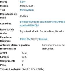 Som  da sony MHC 80d  com excelente condições