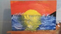 Quadro por do sol no mar