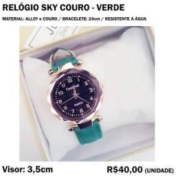 Relógio Sky Couro Verde