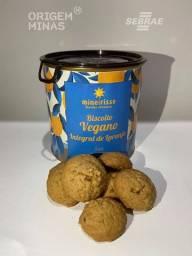 Lata com Biscoito Vegano Integral de Laranja - 130 g | Biscoitos Mineirisse