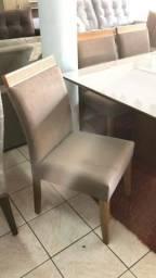 Mesa de 1,80x0,90 vidro branco cadeiras madeira