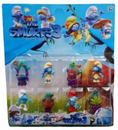 Cartela Com 8 Bonecos Os Smurfs