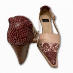Sapato cor rose salto médio couro