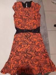 Vestido fashion laranja com preto