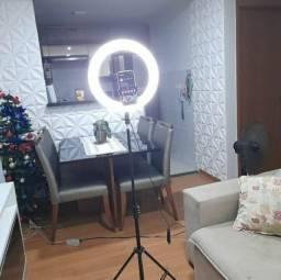 Ring light 26cm 10 polegadas com tripé de até 2 metros de expansão e suporte para celular