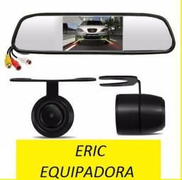 Espelho Retrovisor + Câmera de Ré.  Universal  - Instalado - Me Liga