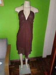 Título do anúncio: Vestido em Crepe Marrom - M/40