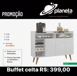 Buffet celta com pés de madeira mega oferta