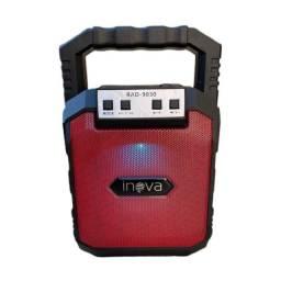 Mini Caixinha De Som Bluetooth Portátil Rádio Fm Usb Inova Vermelha