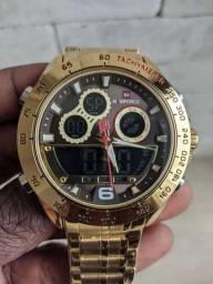 Relógios masculino dourado em aço inoxidável naviforce