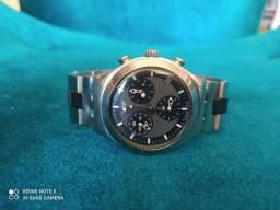 Relógio Swatch original belíssimo com pulseira em aço polido e negro eta original