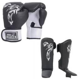 Kit Muay Thai Mma Brazuca Luva Caneleira