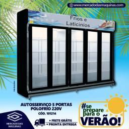 Expositor refrigerado autosserviço 5 portas para bebidas Novo Frete Grátis