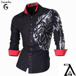 Camisa Social Masculina Casual Slim Fit Dragao Tribal 3ebc980e6a3