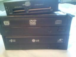 Leitor gravador de dvd e leitor de cartões Sd