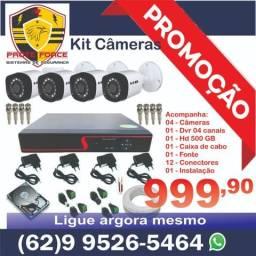 Kit com 4 câmeras De segurança em hd