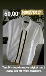 c04a54daaf9 Camisa Forever 21 m21.tam M cor off white com listra nova original