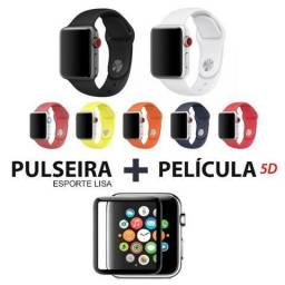 Pulseira Esporte Lisa Apple Watch 38/42mm + Pelicula 5d