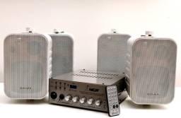 Kit Som Ambiente Receiver Nca Usb-100r4d + 4 Caixas Hayonik