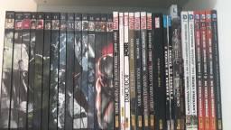 Coleção com 33 revistas em quadrinhos Marvel e DC capa dura colecionador