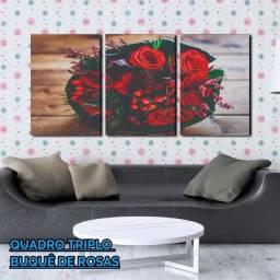 Quadro Decorativo Em Três Partes Buquê de Rosas