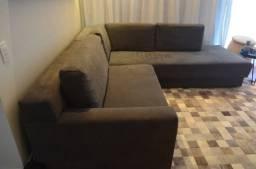 Sofá em L medida 250 cm tecido suede retrátil e chaise bell arte