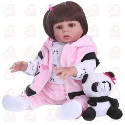 Título do anúncio: Bebê reborn super realista girafinha e pandinha TODA de silicone