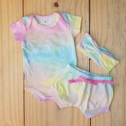 Conjunto Tie Dye em Cotton Baby Menina