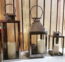 Lanternas metálicas prata