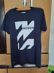 Camiseta Lacoste Azul e Branco M