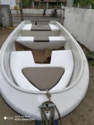 Barco de Fibra casco duplo (não alumínio)com Motor Evinrude 15 hp