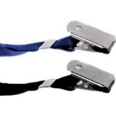 2 Cracha cordão Tecido azul claro e escuro com Presilha Jacare
