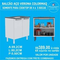 Balcão Verona Aço para Colocar FOGÃO Cooktop 4 OU 5 Bocas  Colormaq Branco