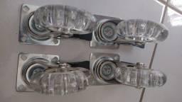 4 Rodizio Silicone Rodinhas 75mm Com Freio