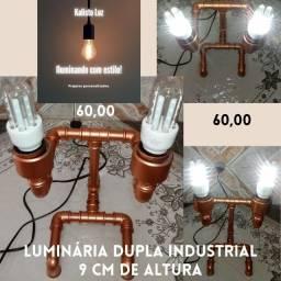 Luminárias artesanais feitas em PVC com estilo industrial.