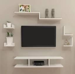 Kit 6 Peças Rack Tv U Branco 100% Mdf
