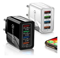 Carregador Turbo 3.0 4 Usb Celular Samsung iPhone Xiaomi