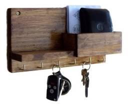 porta chaves de madeira pinus
