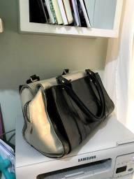 Bolsa bicolor em couro legítimo de animal qualidade superior