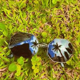 Óculos octagonal preto unissex tendência 2021