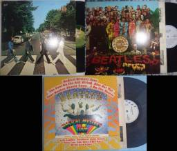 3 LPs Beatles- Abbey Road, Peppers e Magical