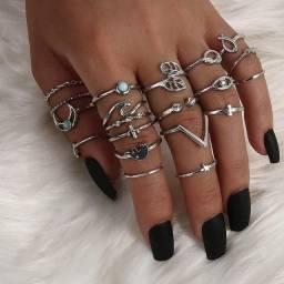 Conjunto anéis de prata