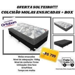 Oferta!!!! Box Solteiro + Colchão Molas Ensacadas Ortobom